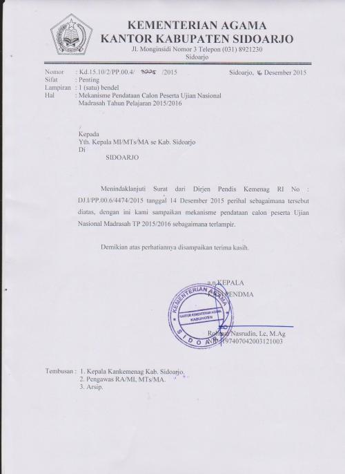surat mekanisme UN